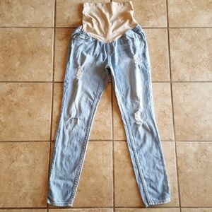 Indigo Blue Distressed Skinny Maternity Jeans